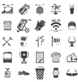 collection of black icons for golf vector image