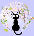 cute black cat on the flower branch vector image vector image