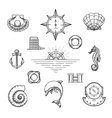 Doodle Nautical Decor Element Set vector image vector image