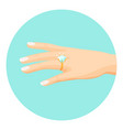 female hand with diamond engagement ring on finger vector image vector image