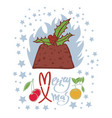flaming christmas pudding design card vector image
