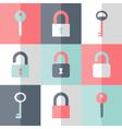 Flat padlock key icon set vector image