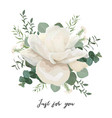 floral card design with white roses and wucalyptus vector image vector image