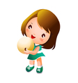 Girl holding bowling ball vector image