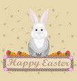 happy easter rabbit holiday card flat vector image vector image