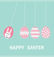 happy easter text hanging pink painting pattern vector image