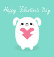 happy valentines day white baby dog puppy head vector image