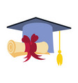 hat graduation with certificate isolated icon vector image vector image