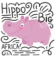 Hippo pink on a white background isolated vector image vector image