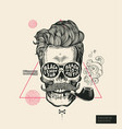 hipster hair skull smoke pipe poster print vector image vector image