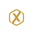 initial x hexagon logo vector image vector image