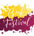 modern calligraphy lettering of book festival in vector image
