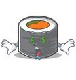 money eye sushi cartoon character style vector image