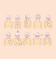 old age womans emotions and facial expressions vector image