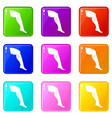 plastic surgery of legs icons 9 set vector image vector image