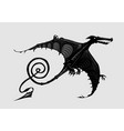 pterodactyl silhouette isolated on white black vector image vector image