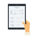 recipe on tablet screen flat icon isolated vector image vector image