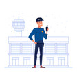 Security company employee with portable radio in