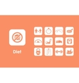 Set of diet simple icons vector image
