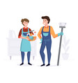 smiling staff from cleaning company after vector image vector image