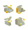 stacked cash on white vector image vector image