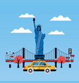 statue of liberty city skyscraper vector image vector image
