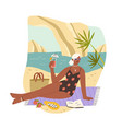 tanned woman drinking cocktail and sunbathing vector image vector image