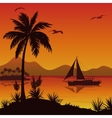 Tropical Sea Landscape with Palms and Ship vector image