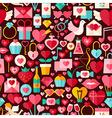 Valentine Day Flat Design Dark Seamless Pattern vector image vector image