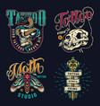 Vintage tattoo studio colorful emblems