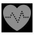 white halftone dotted heart pulse icon vector image