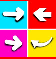 white pop art arrows on colored background vector image