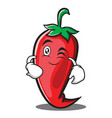 wink red chili character cartoon vector image vector image