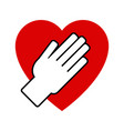 hand on heart icon vector image