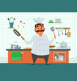 chef cooking on the kitchen character in vector image