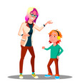 angry mother scolding her son isolated vector image vector image