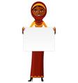 arab muslim woman standing holding blank sign vector image
