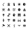 artificial intelligence glyph icons set vector image vector image