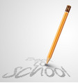 back to school poster with a pencil and space vector image vector image