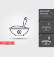 baspoon and bowl full meal line icon vector image vector image