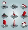 beach color gradient isometric icons vector image
