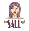 beautiful young girl with a sign sale vector image