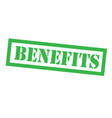 benefits stamp on white vector image vector image