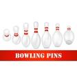 Bowling pins set vector image vector image