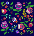bright cartoon flowers on dark blue vector image