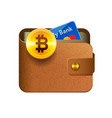 Brown bitcoin wallet icon with coin credit card