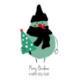 christmas greeting card with funny snowman vector image vector image