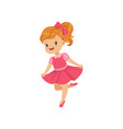 cute little girl dancing in pink dress vector image vector image