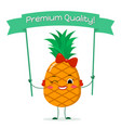 cute pineapple cartoon character with a red bow vector image vector image