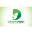 d green leaf letter design logo eco bio leaf vector image vector image